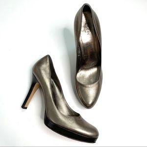 Gucci Silver Round Toe Platform High Heels 9.5